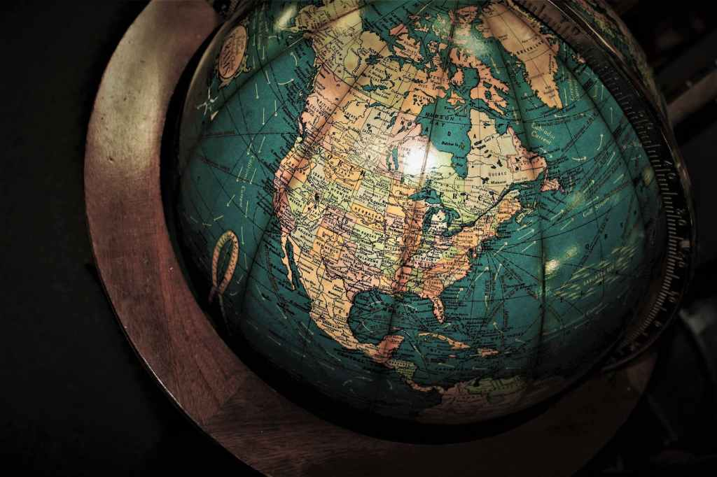 Old globe with North America clearly visible.